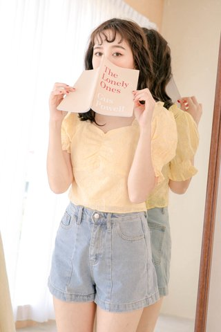 (BACKORDER) ONNE KR EYELET FRENCH RUFFLED TOP IN BABY YELLOW