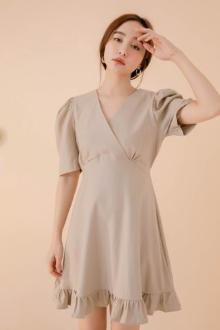 POTATO DE KR RUFFLED DRESS IN KHAKI