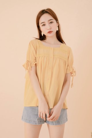 POTATO DE KR EYELET SQUARE NECK TOP IN YELLOW