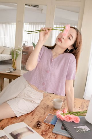 HELLO A' KR LETTUCE KNIT CROP TOP IN BABY YAM