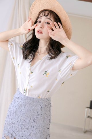 (BACKORDER) HONEY YU KR FLORAL EMBROIDERY TOP IN WHITE