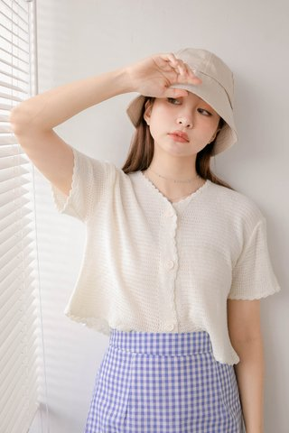 HELLO A' KR LETTUCE KNIT CROP TOP IN CREAM