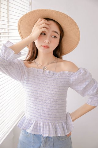 LE COUR KR CHECKED RUFFLED TOP IN WHITE