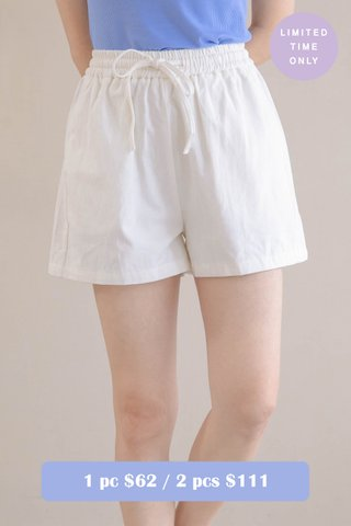 (BACKORDER) HONEY YU KR -5KG DRAWSTRING SHORTS IN MILK