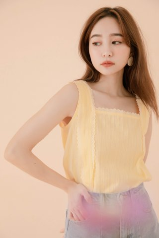 POTATO DE KR LACE HEM TOP IN YELLOW