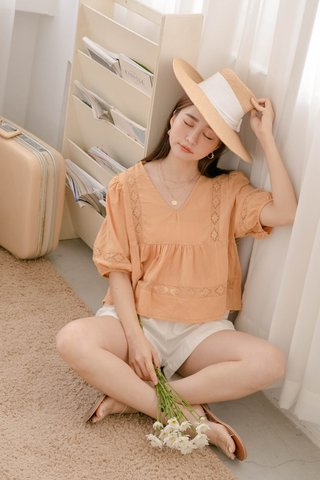(BACKORDER) BAKE KOREA BRODERIE TOP IN LAZY MUSTARD