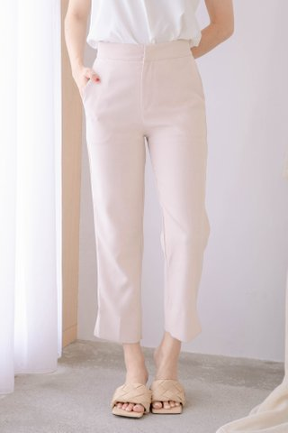 (BACKORDER S/M/L) BAKE -5KG SPLIT HEM TAILORED PANTS IN BABY NUDE