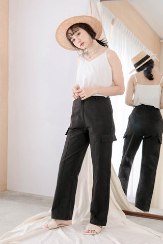 HANNAH KR DOUBLE POCKET 170CM PANTS IN BLACK
