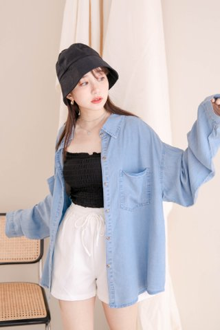 HANNAH KR DENIM SHIRT IN LIGHT BLUE