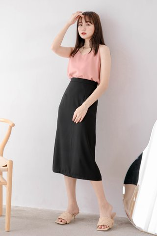 RAINIE KOREA MIDI SKIRT IN BLACK