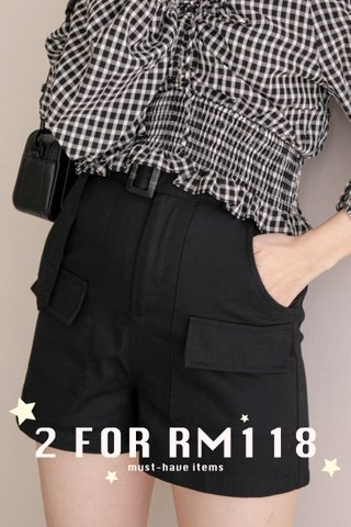 (BACKORDER - S/M/L )ALMOND BUTTER A'MADE BELTED -5KG SHORTS IN BLACK