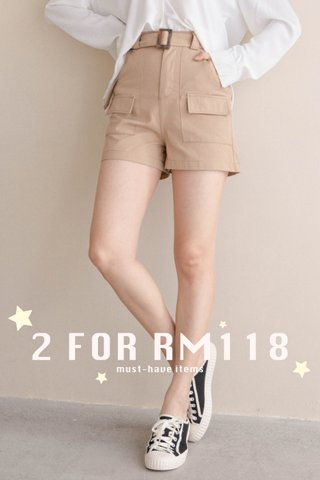 (BACKORDER M/L) ALMOND BUTTER A'MADE BELTED -5KG SHORTS IN KHAKI