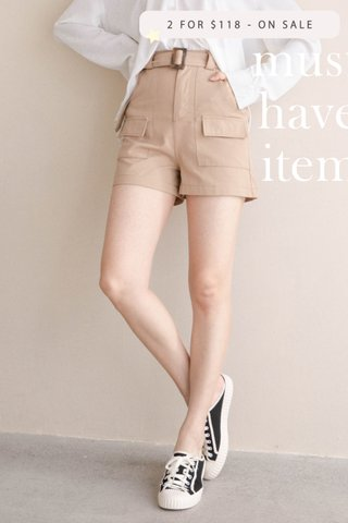 (BACKORDER 3 - XL) ALMOND BUTTER A'MADE BELTED -5KG SHORTS IN KHAKI