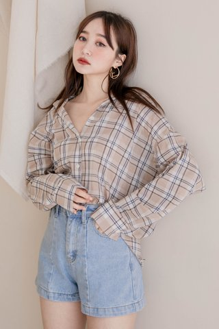 (BACKORDER) LITTLE ME KR CHECKERED SHIRT IN MILK TEA