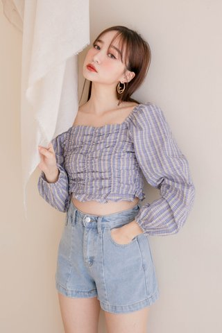 HONEY DEW KR CHECKERED SMOCKED TOP IN BLUE