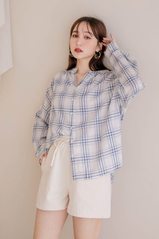 HONEY DEW KR CHECKERED TOP IN WHITE