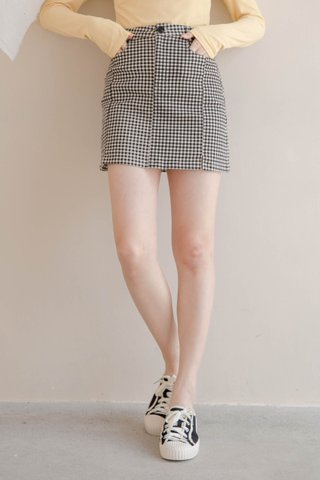 LITTLE ME KR -5KG GINGHAM SKIRT IN BLACK (NG SALES)