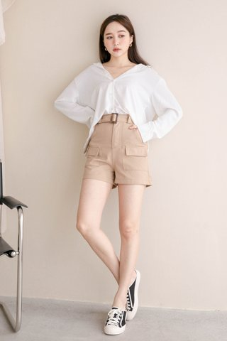 (BACKORDER S/M/L/XL) ALMOND BUTTER A'MADE BELTED -5KG SHORTS IN KHAKI