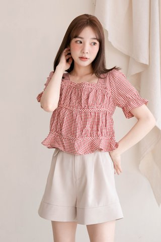 (BACKORDER) HONEY MII KR RUFFLED CHECKED TOP IN RED