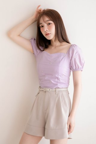 (BACKORDER XS/S/M/L) THE BUTTERS KR WITH FLORAL EMBROIDERY TOP IN BABY YAM