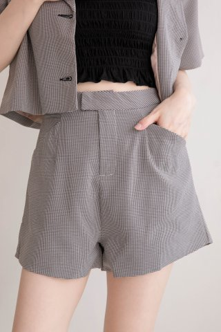 (BACKORDER XS/S/M/L/XL) THE BUTTERS KR HOUNDSTOOTH SHORTS IN BLACK