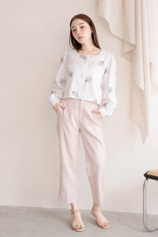 HONEY MII KR SQUARE NECK EMBROIDERY TOP