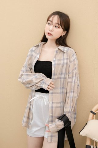 DAISY LOVE KR CHECKERED SHIRT IN MILK TEA