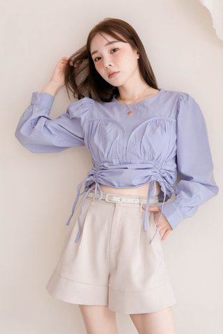 HONEY MII KR RUCHED TOP IN BABY BLUE