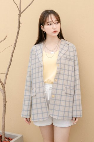(BACKORDER) LITTLE DAY KR CHECKERED BLAZER IN GREY