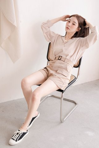 (BACKORDER) RAINIE KR BASIC COLLAR SHIRT IN MILK TEA