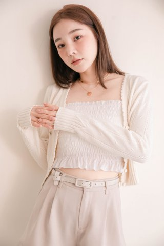 (BACKORDER) RAINIE KR LETTUCE EDGE SMOCKED TOP IN WHITE