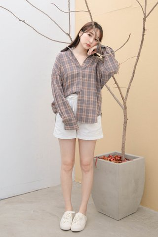LITTLE DAY KR CHECKERED SHIRT IN LAZY GREY