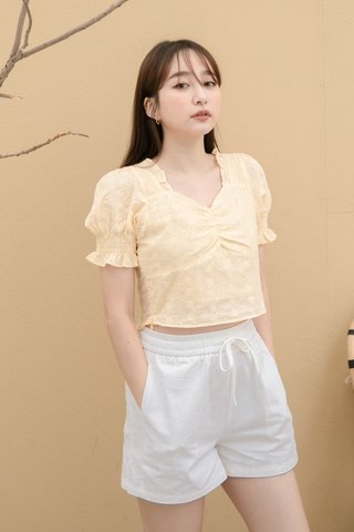 ONNE KR EYELET FRENCH RUFFLED TOP IN BABY YELLOW