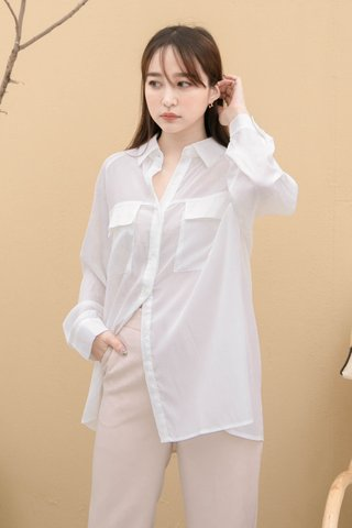 DAISY LOVE KR DOUBLE POCKET BASIC SHIRT IN WHITE