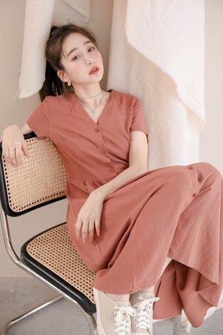 LITTLE DAY KOREA DRESS IN BRICK