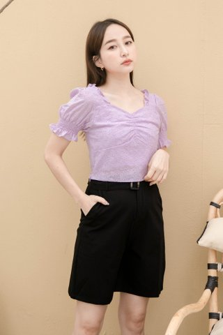 (BACKORDER) ONNE KR EYELET FRENCH RUFFLED TOP IN YAM