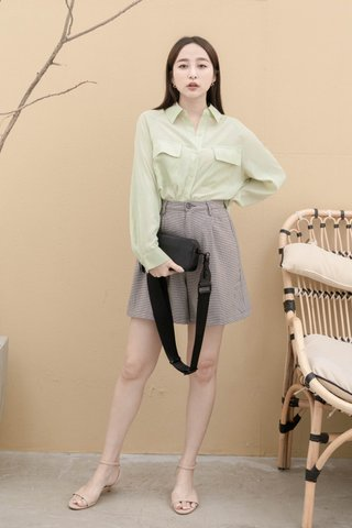 DAISY LOVE KR DOUBLE POCKET BASIC SHIRT IN BABY GREEN