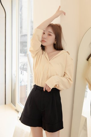 RAINIE KR BASIC COLLAR SHIRT IN BUTTER