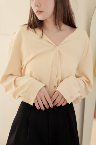 (BACKORDER) RAINIE KR BASIC COLLAR SHIRT IN BUTTER