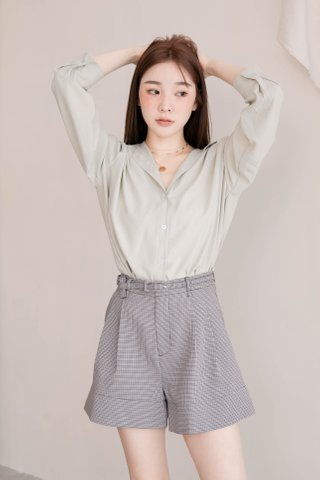 RAINIE KR BASIC COLLAR SHIRT IN BABY MINT