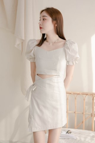(BACKORDER 2 - S/M/L) VERY VELY KR EMBROIDERY OVERLAP DRESS IN DUSTY MILK