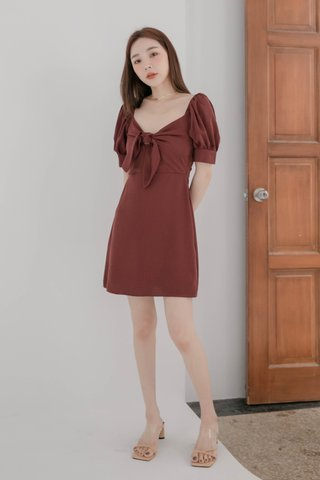 HONEY BAKED KR SELF-TIE DRESS IN WINE