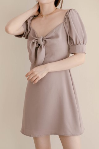 HONEY BAKED KR SELF-TIE DRESS IN DUSTY YAM