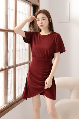 BUT LITTLE BUN KOREA -5KG ASYMMETRICAL DRESS IN MAROON