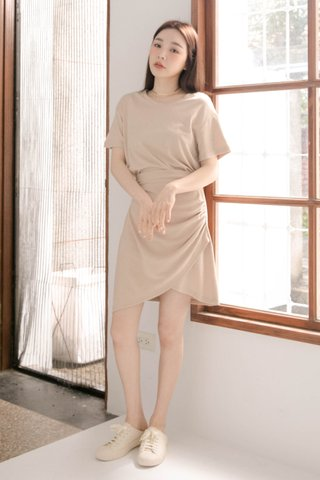 BUT LITTLE BUN KOREA -5KG ASYMMETRICAL DRESS IN MILK TEA