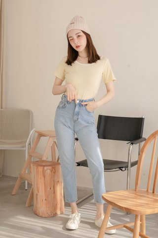 (BACKORDER) HOLY KR BASIC CONTRAST TOP IN BUTTER