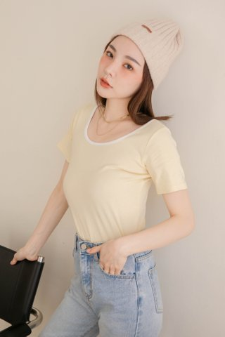 HOLY KR BASIC CONTRAST TOP IN BUTTER