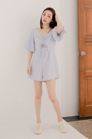 RAINIE HONEY KR RUCHED ROMPER IN BABY BLUE