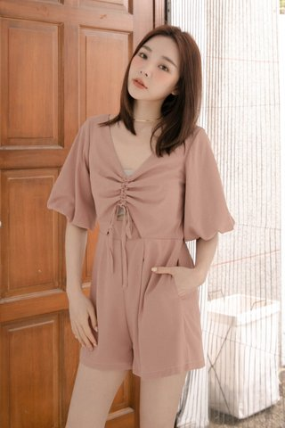 RAINIE HONEY KR RUCHED ROMPER IN DUSTY NUDE