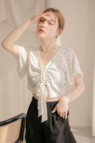 (BACKORDER S) BUT LITTLE BUN KOREA RUCHED DOTTY TOP IN WHITE